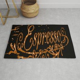 Espresso Coffee Artistic Typography Rug