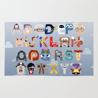 pixar Area & Throw Rugs featuring P is for Pixar (Pixar Alphabet) by Mike Boon