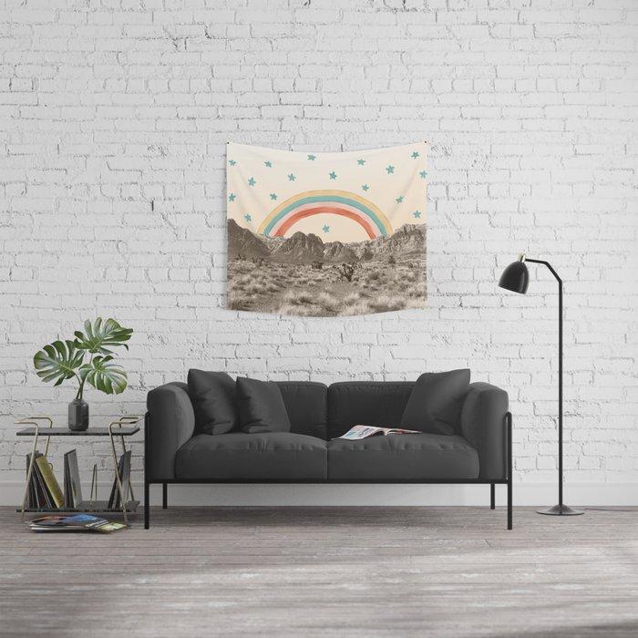 Canyon Desert Rainbow // Sierra Nevada Cactus Mountain Range Whimsical Painted Happy Stars Wall Tapestry
