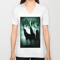 wolves V-neck T-shirts featuring WolveS by shannon's art space