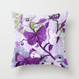 Purple Butterflies on a Branch Vintage Floral Throw Pillow