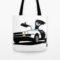 delorean Tote Bags featuring Delorean - Ghost Image 1 by Geoff Ombao Car Art