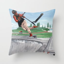 Kobold Kick Scooter Trick Throw Pillow