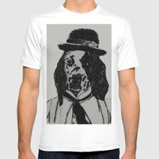 Dog Chaplin White MEDIUM Mens Fitted Tee