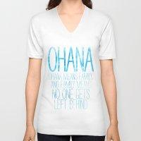 ohana V-neck T-shirts featuring OHANA by Sara Eshak