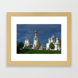 Landscape with the Ancient Saint Sophia Cathedral and Vologda Kremlin in the Russian North Framed Art Print