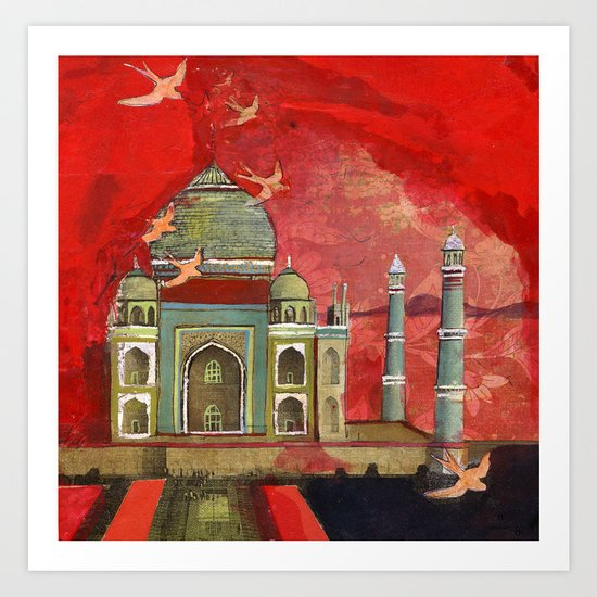 taj mahal in pink Art Print