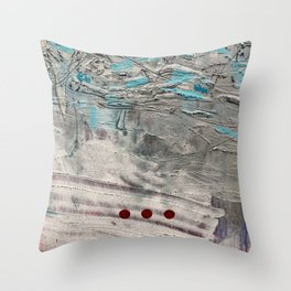 Wait // acrylic abstract texture modern painting Throw Pillow