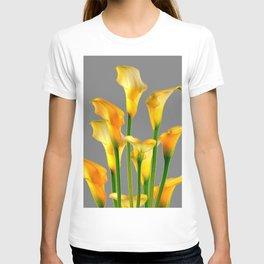 DECORATIVE GOLDEN CALLA LILY FLOWERS ON GREY ART T-shirt