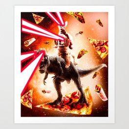 Laser Eyes Space Cat Riding Dog And Dinosaur Art Print