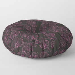 Seamless flower pattern with orchids phalaenopsis background Floor Pillow