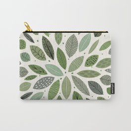Mid-Century Green Leaves Carry-All Pouch