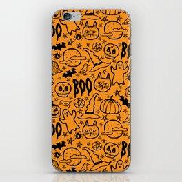 Spooky Pattern - Orange iPhone Skin