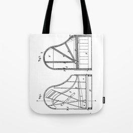 Steinway Grand Piano Patent - Piano Player Art - Black And White Tote Bag