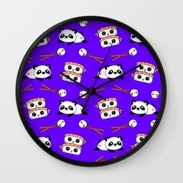 Cute funny Kawaii chibi little playful baby panda bears, happy cheerful sushi with shrimp on top, rice balls and chopsticks plum purple pattern design. Nursery decor. Wall Clock