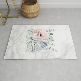 Pretty Succulents on Marble Watercolor by Nature Magick Rug