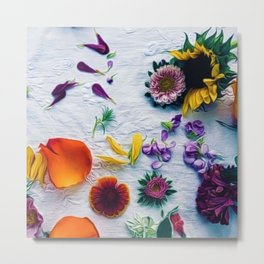 Bouquet of Petals and Flowers Still Life Metal Print