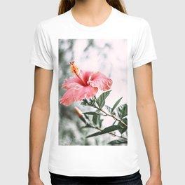 Blooming Pink Hibiscus Flower T-shirt