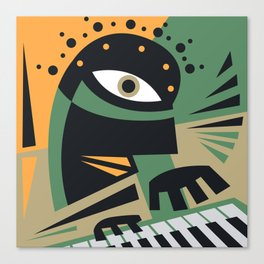 Abstract Jazz Concept, Piano Player, Music pop art Canvas Print