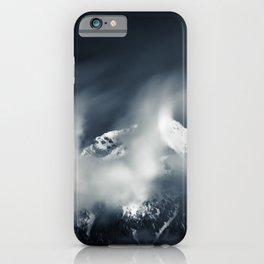 Darkness and chaos over the mountain iPhone Case