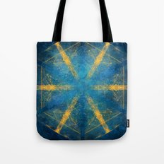 Tribal gold on blue kaleidoscope Tote Bag