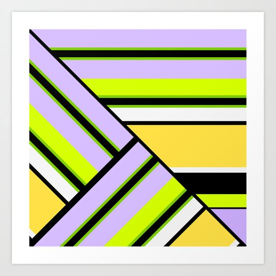 Striped , multi-colored , asymmetric combination pattern . Patchwork . Art Print