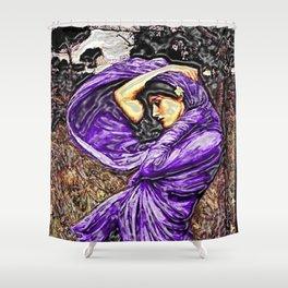 Boreas 1903 surreal portrait by John William Waterhouse in purple decor Shower Curtain