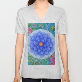 Violet Flower Mandala Unisex V-Neck