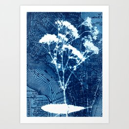 Fragment of New York, art print, collage, blue print, cyanotype print, wall art, wall decor Art Print