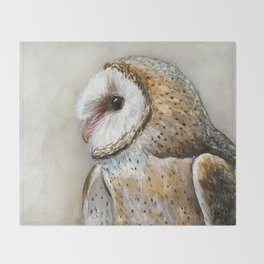 Barn Owl Watercolor, Birds Of Prey Wild Animals Owls Throw Blanket