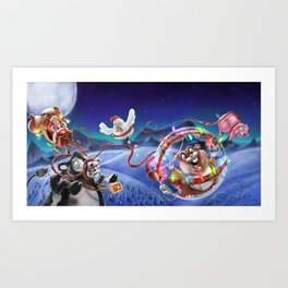 Hamster Saves Christmas Art Print