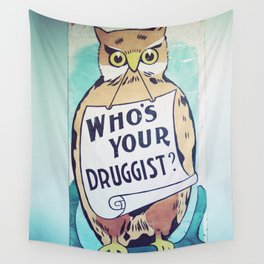 Vintage Owl Sign Wall Tapestry