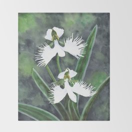Habenaria radiata white egret orchids flowers Throw Blanket