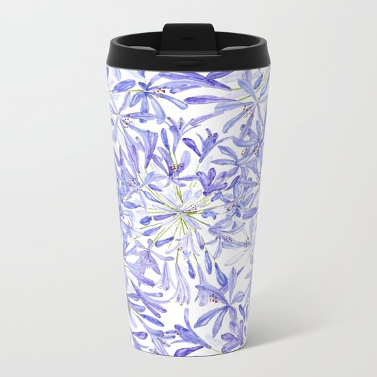 blue purple African lily watercolor painting Metal Travel Mug