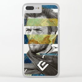 Van Gogh's Self Portrait and Clint Eastwood Clear iPhone Case