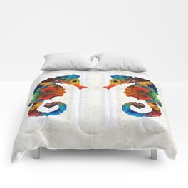 Colorful Seahorse Art by Sharon Cummings Comforters