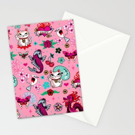Lucky Cat Maneki Neko , Dragons and Koi fish On Pink Stationery Cards