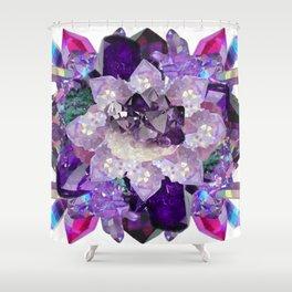 Violet Crystal Explosion Mandala Shower Curtain