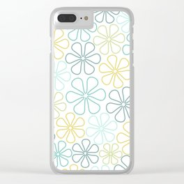 Abstract Flower Outlines Teals Yellow Lime White Clear iPhone Case