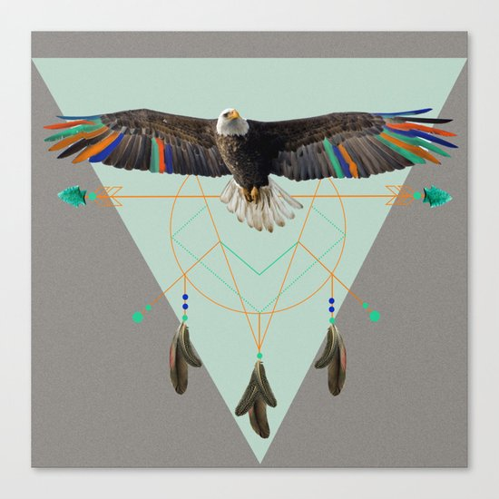 The indian eagle is watching over Po's dreamcatcher Canvas Print