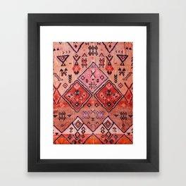 N52 - Pink & Orange Antique Oriental Traditional Moroccan Style Artwork Framed Art Print