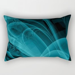 Wisps and Echoes Teal Turquoise Black Rectangular Pillow