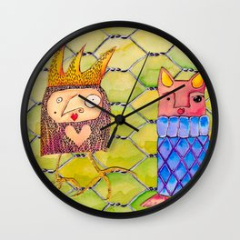 Fox and Chicken in the Coop Wall Clock
