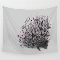 hedgehog Wall Tapestries featuring HEDGEHOG (grey) by Linette No