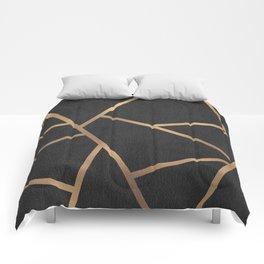 Dark Grey and Gold Textured Fragments - Geometric Design Comforters