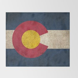 Old and Worn Distressed Vintage Flag of Colorado Throw Blanket