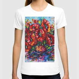 Red Poppies In A Vase Palette Knife Painting T-shirt