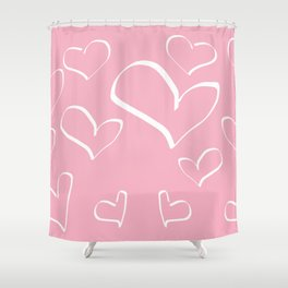 Doodle and hearts Shower Curtain