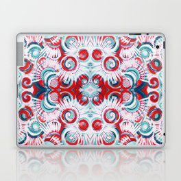 Happy Swirls in Red and Teal Laptop & iPad Skin