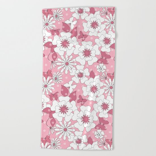 Delicate pink floral pattern. Beach Towel